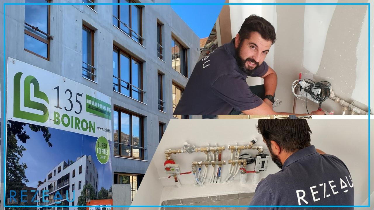 Individualisation de 50 compteurs eau chaude et compteurs caloriques avec module radio-relève dans la copropriété 135 Boiron à Villefranche s/Saône (Rhône)